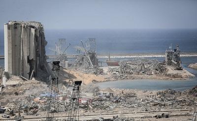 Widok portu w Bejrucie po eksplozji (Zdjęcie: Wikipedia)