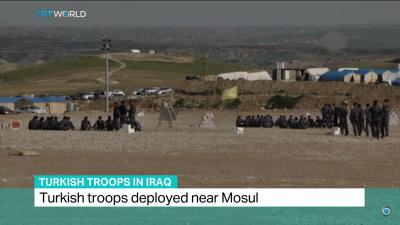 W obozie koło Baszika, w północnym Iraku, kilkuset tureckich żołnierzy szkoli sunnicką milicję, która ma pomagać w zdobyciu Mosulu. Rząd iracki żąda, aby tureckie oddziały opuściły kraj, ale Turcy odmawiają. (Zdjęcie: TRTWorld, zrzut z ekranu)