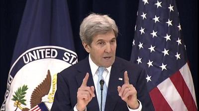 Sekretarz stanu USA, John Kerry, wygłasza uwagi o pokoju na Bliskim Wschodzie w Departamencie Stanu w Waszyngtonie, 28 grudnia 2016 r. (zdjęcie: zrzut z ekranu z relacji telewizyjnej)