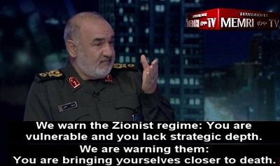 Zastępca komendanta Korpusu Strażników Rewolucji Islamskiej (IRGC), Hossein Salami, niedawno ponownie zagroził Izraelowi występując w irańskiej stacji telewizyjnej Kanał 2 TV. (Zdjęcie:MEMRI)