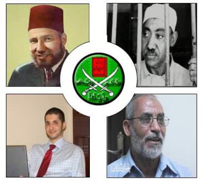 """Pokolenia przywódców Bractwa Muzułmańskiego (górny rząd, od prawej do lewej): Sajjid Kutb, filozof szkoły myśli wojującego islamu; Hassan al-Banna, założyciel; (dolny rząd, od lewej do prawej): Ibrahim al-Hudajbi (z młodszego pokolenia ruchu), bloger i wnuk szóstego przewodnika generalnego; Mohammed Badie, obecny """"przewodnik generalny"""" [najwyższy przywódca]<a href=\"""