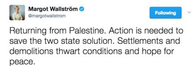 """Pani minister chce """"uratować"""" rozwiązanie w postaci dwóch państw."""