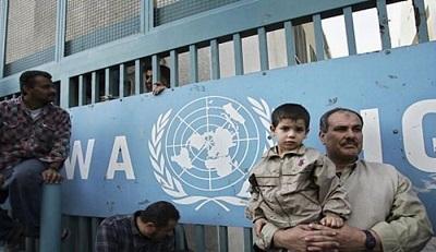 Strzelisty gmach UNRWA w Gazie.