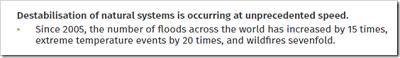 [Destabilizacja naturalnych systemów zachodzi z bezprecedensową szybkością.Od 2005 r. liczba powodzi na świecie wzrosła 15 razy, występowanie skrajnych temperatur 15 razy, a pożarów siedmiokrotnie.]