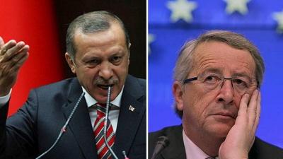 Prezydent Turcji Recep Tayyip Erdogan (po lewej) wyg�osi� ostatnio pe�ne ciep�ych uczu� s�owa, wyra�aj�c podziw nie dla Unii Europejskiej, ale dla ostatniego kalifatu islamskiego – Imperium Osma�skiego, ekspansjonistycznego królestwa islamskiego, które pope�nia�o masakry, gwa�ty i niewolnictwo seksualne ludów, które podbi�o. Pytaniem jest, kiedy UE zacznie dzia�a� jak szanuj�ca si� instytucja i oceni Turcj� wed�ug tego, co ona rzeczywi�cie mówi i robi? Po prawej: przewodnicz�cy Komisji Europejskiej Jean-Claude Juncker.<br /> <br />