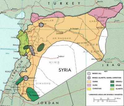 """""""Syria"""": dystrybucja etniczno-religijna przed wojną domową."""