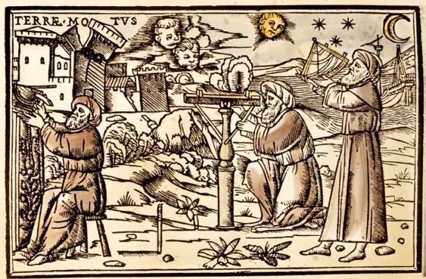 Arabscy astronomowie obserwują niebo. Rycina z średniowiecznego druku komentarzy Cycerona do Sominum Scipionis