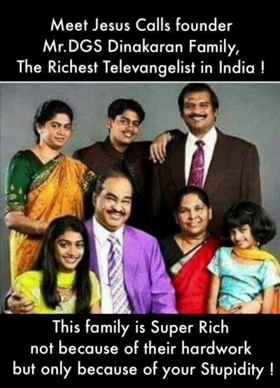 """Poznaj założyciela firmy """"Jezus wzywa"""", Pana Dinakarana i jego rodzinę. Najbogatszy teleewangelista w Indiach.Ta rodzina jest nadzwyczaj bogata i nie dzięki ciężkiej pracy, a dzięki twojej głupocie."""