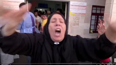 Zrzut zekranu zreportażu zeszpitala wGazie wyprodukowanego przezdziennikarzy Reutersa przy współpracy Hamasu.