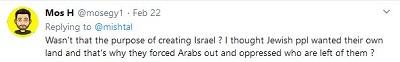 [Czy to nie było celem stworzenia Izraela? Myślałem, że naród żydowski chciał własnego kraju i dlatego wygnali Arabów i uciskali tych, którzy zostali?]