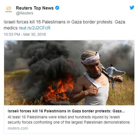 <center>Izraelskie siły zabiły 16 Palestyńczyków podczas protestów granicznych w Gazie: lekarze w Gaziehttps://reut.rs/2J2CFcR<br />22:53, 30 marca 2018<br />Izraelskie siły zabiły 16 Palestyńczyków podczas protestów granicznych w Gazie:<br />Co najmniej 16 Palestyńczyków zostało zabitych i setki rannych przez izraelskie siły bezpieczeństwa w konfrontacji z jedną z największych demonstracji palestyńskich wzdłuż granicy Izrael-Gaza w ostatnich latach, Gaza…<br />Reuters.com</center>