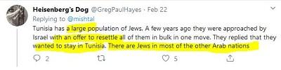 [Tunezja ma dużą populację Żydów. Kilka lat temu Izrael przyszedł do nich z ofertą przesiedlenia ich w całości. Odpowiedzieli, że chcą zostać w Tunezji. Są Żydzi w większości innych krajów arabskich]
