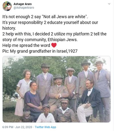 """[Nie wystarczy powiedzieć, że """"Nie wszyscy Żydzi są biali"""". Masz odpowiedzialność nauczyć się własnej historii. Aby pomóc w tym, postanowiłem używać mojej platformy do opowiedzenia wam o historii mojej społeczności, etiopskich Żydów. Pomóżcie szerzyć słowo. Na zdjęciu: Mój dziadek w Izraelu, 1927 rok.]"""