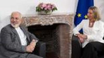 Była szefowa polityki zagranicznej Unii Europejskiej, Federica Mogherini, z irańskim ministrem spraw zagranicznych Mohammadem Dżawadem Zarifem (Photo: AFP)
