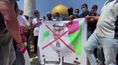 Jeszcze w sierpniu 2020 prezydent Turcji groził zerwaniem stosunków dyplomatycznych ze Zjednoczonymi Emiratami Arabskimi. Zdjęcie – palestyńskie protesty pokazywane w Turcji (zrzut z ekranu z wideo).