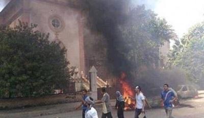 Podpalony kościół w Kairze