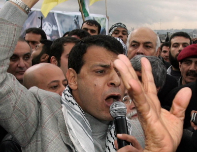 Mohammed Dahlan przemawia na wiecu politycznym 7 stycznia 2007 r. w mieście Gaza. (Zdjecie: Abid Katib/Getty Images)