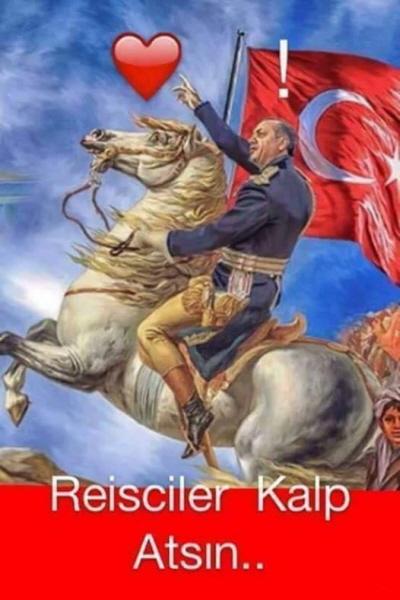 <br />Turecki plakat zachęcający do popierania Erdogana na Facebooku. <br />