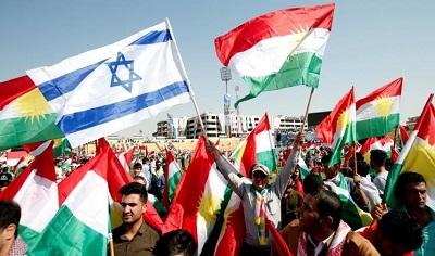 Iraccy Kurdowie z flagą izraelską obok flagi kurdyjskiej. Zdjęcie: Aljazeera.net, 2 października 2017
