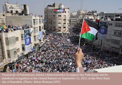 <span>Ramallah, wiec na rzecz palestyńskiego państwa.</span>