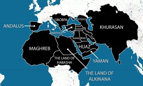Mapa opublikowana przez ISIS z ich planami na najbliższe pięć lat.