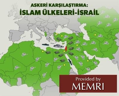 """Mapa proponowanego wspólnego ataku państw islamskich na Izrael przedstawiona w tureckim dzienniku""""Yeni Şafak""""."""