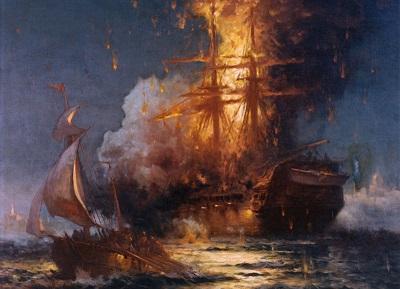 Obraz Edwarda Morana z 1897 r., przedstawiający palący się okręt USS Philadelphia w bitwie w porcie Trypolisu podczas pierwszej wojny z Berberami w 1804 r. (Zdjęcie: U.S. Naval Academy Museum Collection/Wikimedia Commons)