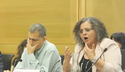 """Posłowie do Kneset, Mossi Raz i Aida Touma-Suleiman, w Knesecie na imprezie, którą zorganizowali pod hasłem: """"Po 54 latach: Między okupacją a apartheidem""""(zdjęcie: MARC ISRAEL SELLEM/THE JERUSALEM POST)"""