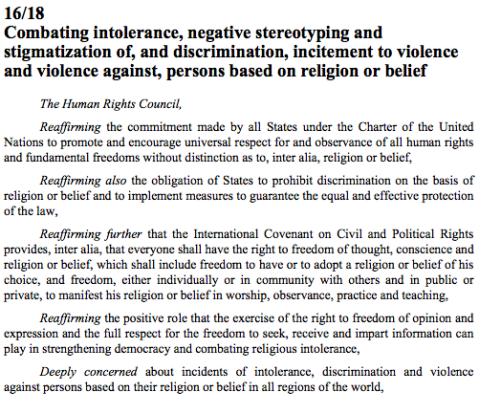 Zwalczanie nietolerancji, negatywnych stereotypów i stygmatyzacji, dyskryminacji, podżegania do przemocy oraz przemoc przeciwko osobom na podstawie religii lub wiary
