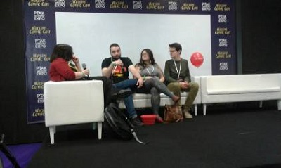 Comic Con, panel dyskusyjny; od lewej kolejno odwrócony Zwierz Popkulturalny, Węglowy Szowinista, ja, To tylko Teoria