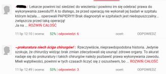 Te komentarze to akurat pod artykułem w Fakcie, ale bynajmniej nie były odosobnione;http://www.fakt.pl/wydarzenia/polska/slask/wycieli-pacjentce-zoladek-sledzione-i-przelyk-okazala-sie-ze-byla-zdrowa/lescbk9