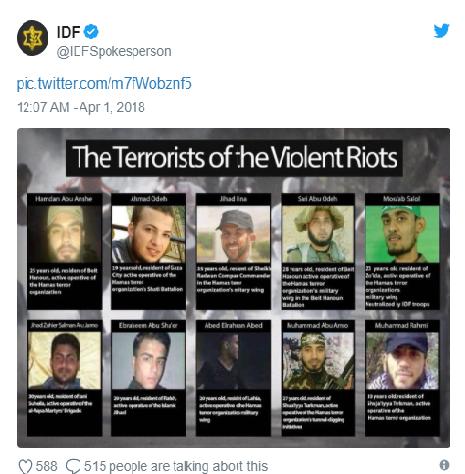 @IDFRzecznik<br />Co najmniej 10 znanych terrorystów z historią działalności terrorystycznej zostało zabitych podczas dokonywania aktów terroru podczas gwałtownych zamieszek wzdłuż granicy między Izraelem a Strefą Gazy w piątek, 30 marca 2018.Hamas nawet publicznieprzyznał się dopięciu z powyższych osób.