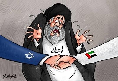 Karykatura z gazecie ZEA: Iran oburzony na porozumienie między ZEA a Izraelem (Al-Ru'ya, ZEA, 19 września 2020)