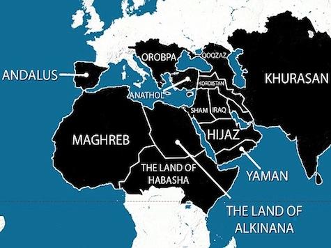 Opublikowana niedawno przez ISIS mapa planowanych podbojów na najbliższe pięć lat (obszary zaznaczone na czarno).