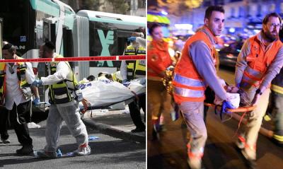 Dostrzeż różnicę...<br /> Po lewej: Ratownicy niosą zwłoki ofiary zamordowanej przez islamistycznych terrorystów, którzy strzelali i dźgali nożami cywilów w jerozolimskim autobusie w zeszłym miesiącu.Po prawej: Ratownicy niosą ofiarę zraniona przez islamistycznych terrorystów, którzy strzelali do cywilów w teatrze paryskim w zeszłym tygodniu.