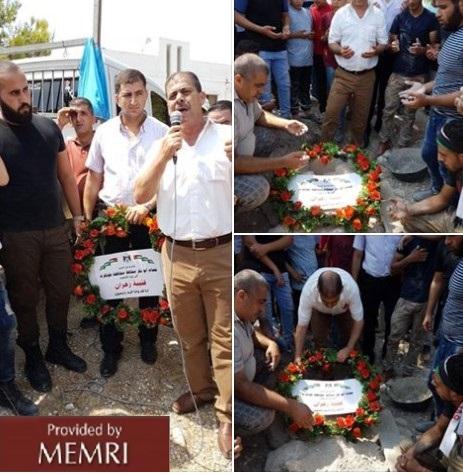 Zastępca gubernatora Tulkarem, Mustafa Takatka, przemawiający na pogrzebie Zahrana (Zdjęcie: Facebook.com/tulkgov, 9 wrzesnia 2017)