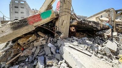 Zniszczony dom w Rafah w Strefie Gazy po dwóch tygodniach rakietowych ataków Hamasu na cywilną populację Izraela, które wywołały izraelskie naloty na Strefę Gazy, 24 maja 2021 r. Zdjęcie: Abed Rahim Khatib/Flash90.