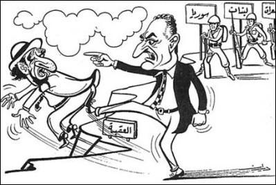 Pół wieku temu, w maju 1967 roku, prezydent Egiptu Nasser zapowiedział ostateczne rozwiązanie kwestii żydowskiej. [Karykatura z egipskiej prasy z maja 1967 roku.]