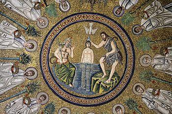 Mozaika w ariańskimbaptysteriumwRawenniewe Włoszech. Przedstawia onachrzest Jezusadokonany przezJana Chrzciciela.