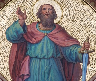 Wiedeń – fresk przedstawiający św. Paweła Apostoła z początku XX, zdjęcie: Renáta Sedmáková