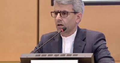 Ambasador Iranu przy ONZ, Esmaeil Baghaei Hamaneh, przemawia w Radzie Praw Człowieka z okazji raportu chwalącego osiągnięcia jego kraju, Genewa, 12 marca 2020.
