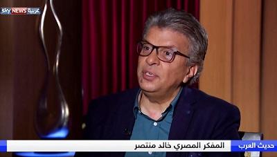 Dr Khaled Montaser w wywiadzie dlaSky News Arabia 20 kwietnia 2018. (Zrzut z ekranu z Sky News Arabia)
