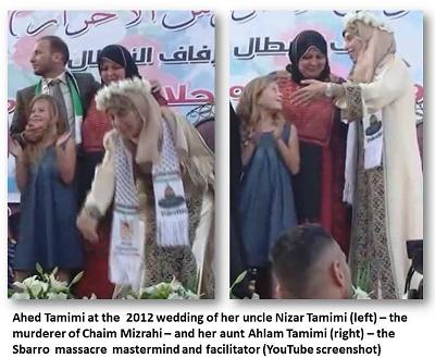 [Ahed Tamimi w 2012 r. na ślubie swojego wujka, Nizara Tamimi (po lewej) – mordercy Chaima Mizrahiego – z jej ciotką, Ahlam Tamimi (po prawej) – organizatorką masakry w Sbarro]