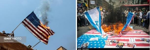 Palenie flag izraelskiej i amerykańskiej wraz z wizerunkami prezydenta Obamy, króla saudyjskiego Salmana i premiera izraelskiego Netanjahu (ISNA, Tasnim, Iran, 1 lipca 2016)
