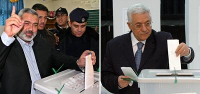 Przywódca Hamasu, Ismail Hanija (po lewej) i przywódca Fatahu, Mahmoud Abbas (również prezydent Autonomii Palestyńskiej) głosujący w ostatnich wyborach do Palestyńskiej Rady Ustawodawczej, które miały miejsce w 2006 r.<br /> <br />