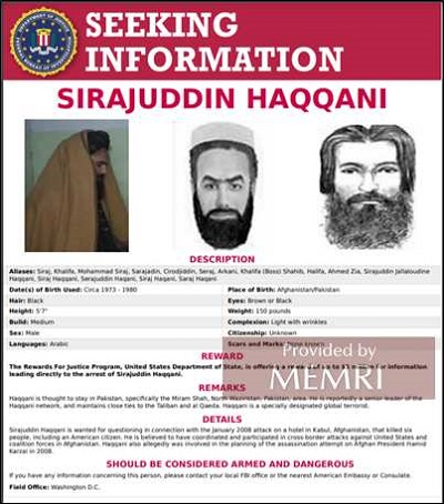 Z 8 września 2021: FBI wylicza Hakkaniego wśród Najbardziej Poszukiwanych terrorystów.
