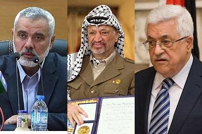 Palestyńskie gołębie pokoju: Hanija, Arafat i Abbas.