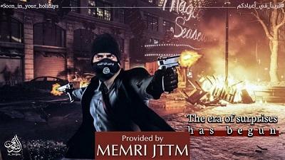 Plakat opublikowany przez popierającą ISIS fundację Al-Taqwa 4 grudnia 2018 pokazuje bojówkarza ISIS, który strzela z dwóch rewolwerów przed budynkiem z napisem \