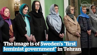 """Szwedzka delegacja w Iranie odbiła się znacznym echem poza Iranem. Podpis brzmi: """"'Pierwszy rząd feministyczny' Szwecji jest oskarżany o hipokryzję za noszenie hidżabów w Teheranie"""" <br /> [Zrzut z ekranu z wideo w """"Sydney Morning Herald""""]"""