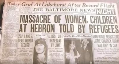 Doniesienie prasowe o masakrze w Hebronie w 1929 roku